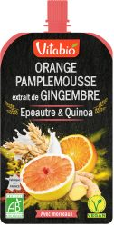 Gourde de fruits et céréales : orange pamplemousse gingembre